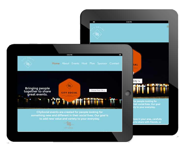 CitySocial Raleigh - Tablet Responsive Website Design For event planning company based in Raleigh, NC by The Dibraco Agency
